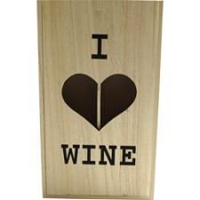 Wijnkist, hout, 2 flessen, incl. schuifdeksel, 10.5x34.5x20cm
